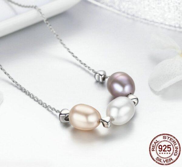 Collier en argent aux 3 perles d'eau douce de différents coloris