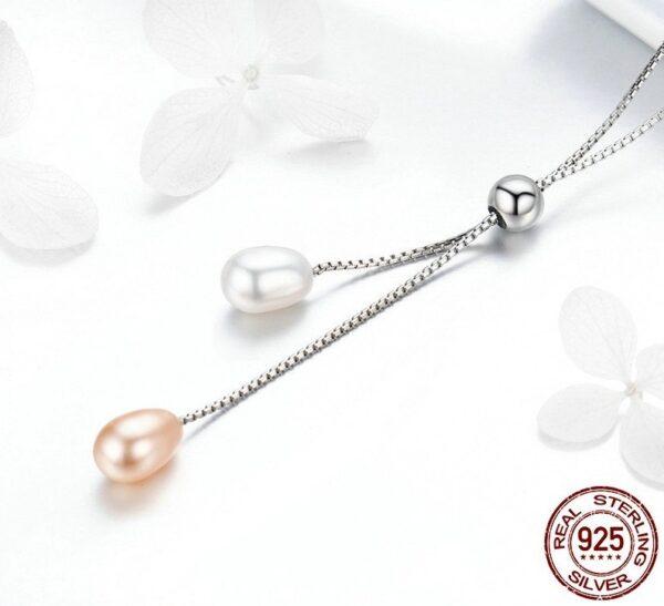 Collier en argent 2 perles d'eau douce blanche er rose
