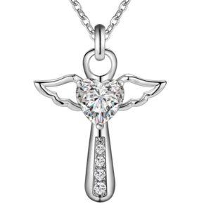 Pendentif ange stylisé avec son zircon blanc ou violet en forme de coeur