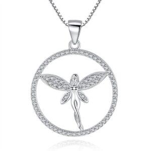 Pendentif fée en argent dont les ailes déployées sont serties de zircons ainsi que son cercle