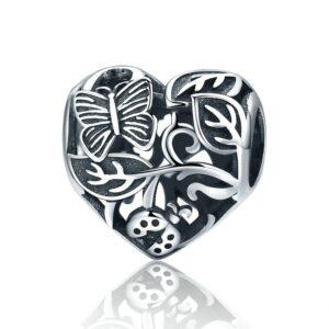 Charm perle en argent coeur, papillon et coccinelle