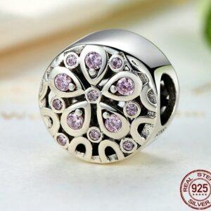 Charm perle en argent jolie fleur de pétales rose