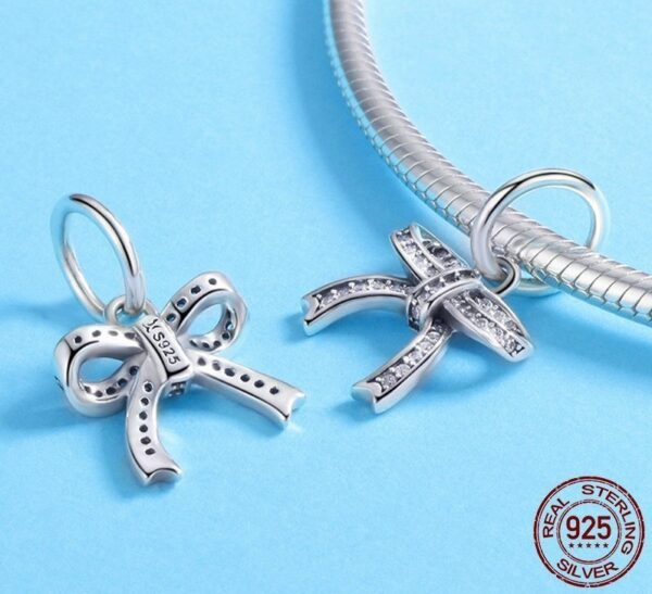 Charm pendentif en argent boucle de rosette courte ou longue