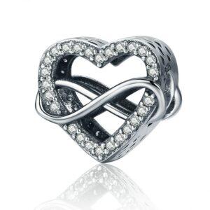 Charm perle en argent coeur et symbole de l'infini liés