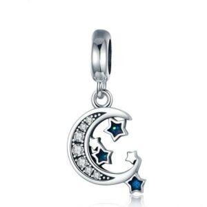Charm pendentif en argent lune accompagnée d'étoiles