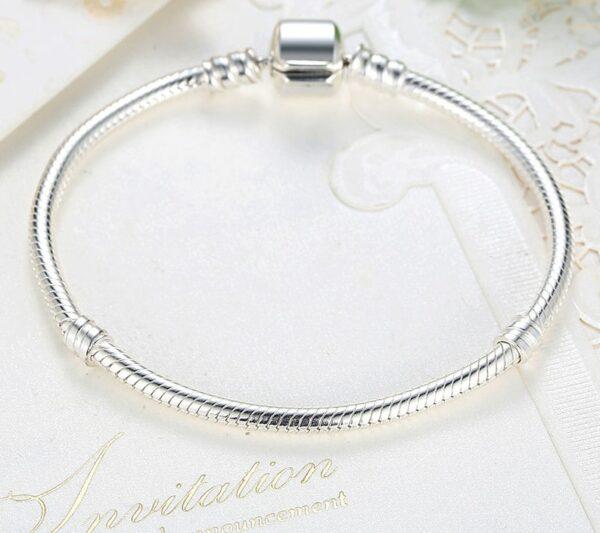 Bracelet charms en argent maille serpent