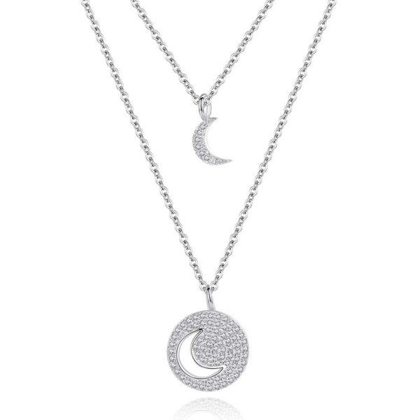 Pendentif lune en argent et sa double chaîne