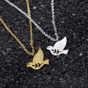 Pendentif colombe en métal couleur or ou argent