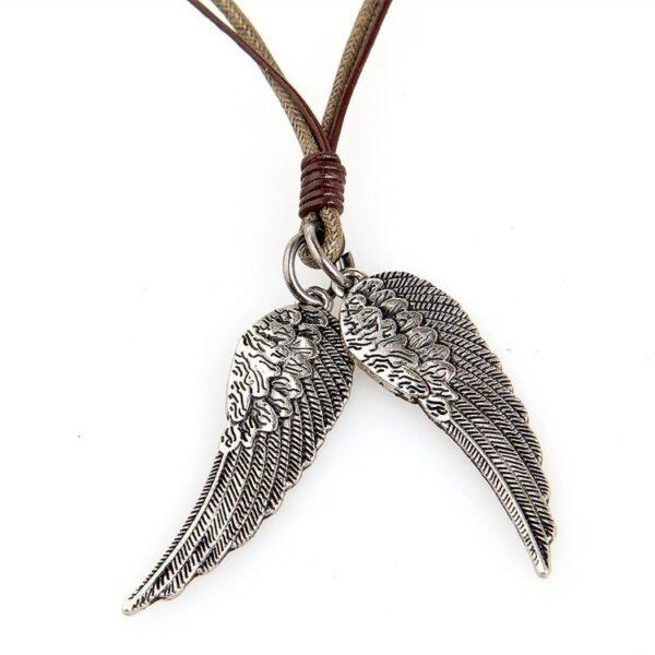 Collier corde et cuir ailes d'ange