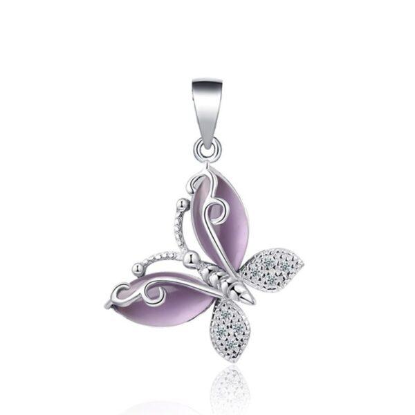 Pendentif papillon en argent aux ailes de zircons blanc et de cristal violet