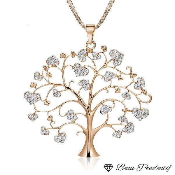 Pendentif arbre de vie aux terminaisons de branches en coeurs de zircons