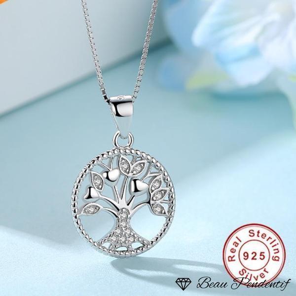 Pendentif arbre de vie en argent fleuri de coeurs et de zircons