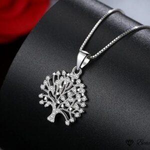 Pendentif arbre de vie en argent fleuri de zircons blancs