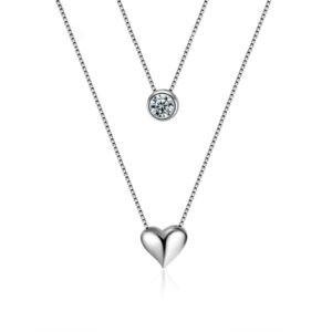 collier coeur et son cristal non loin