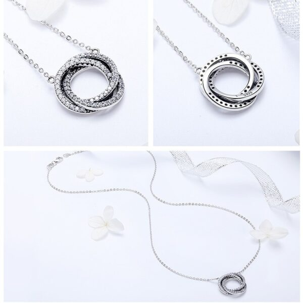 Collier en argent 3 cercles enlacés sertis de zircons blancs
