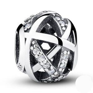 Charm perle en argent galaxie de zircons blancs