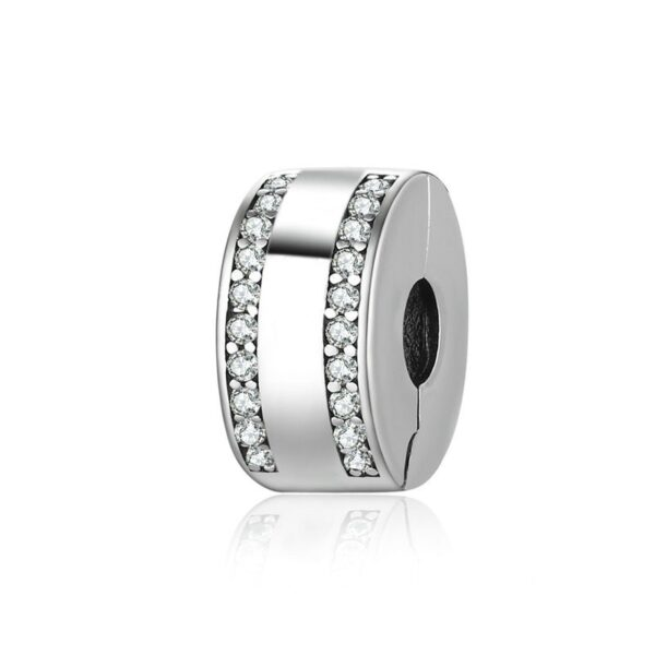 Charm clip en argent 2 lignes de cristaux blancs
