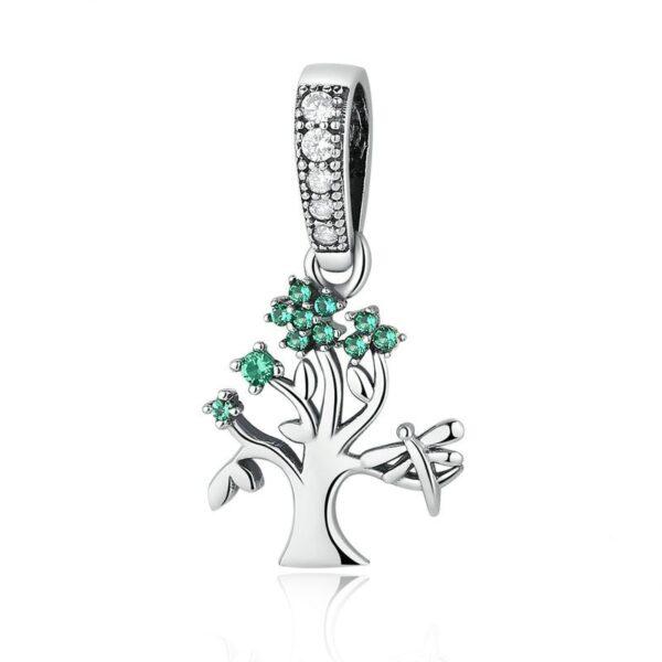 Pendentif charm en argent arbre de vie fleuri de zircons verts