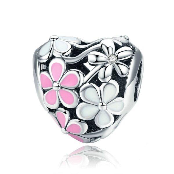Charm perle en argent coeur orné de fleurs