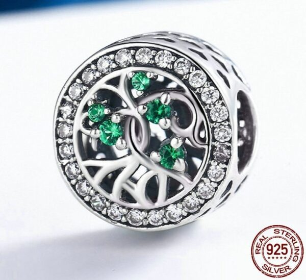 Charm perle en argent arbre de vie aux zircons verts