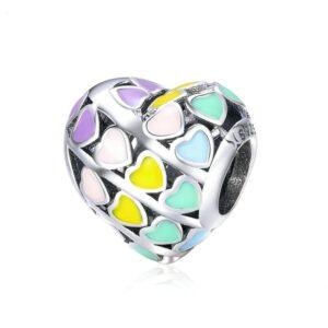 Charm perle en argent multiples coeurs émaillés de couleur