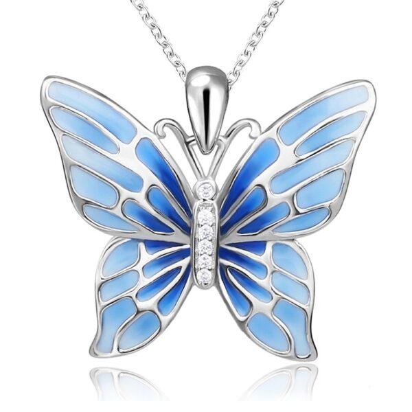 Pendentif papillon en argent aux ailes bleues au corps serti de zircons