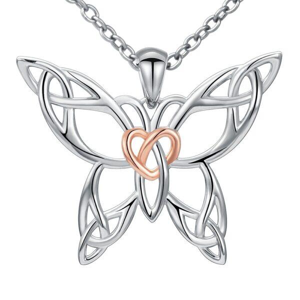 Pendentif papillon en argent avec un coeur de couleur or rose