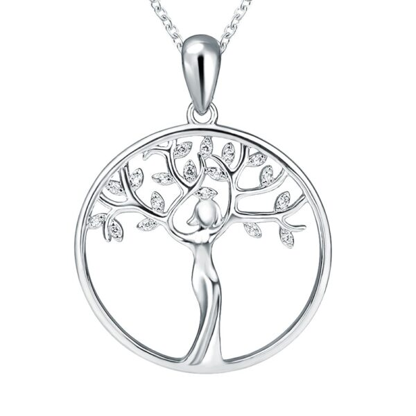 Pendentif arbre de vie en argent et silhouette femme