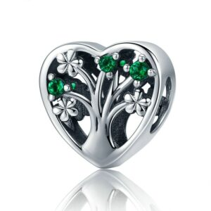 Charm perle en argent arbre de vie aux cristaux verts dans un coeur