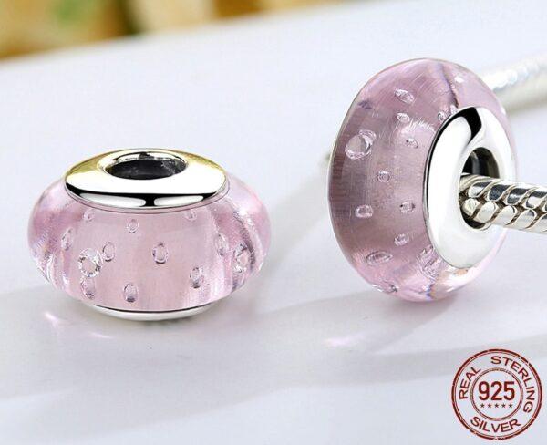 Charm espaceur en argent et verre de murano rose