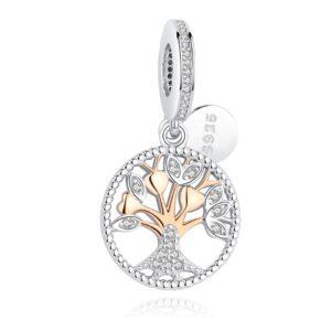 Pendentif charm arbre de vie en argent et doré rose