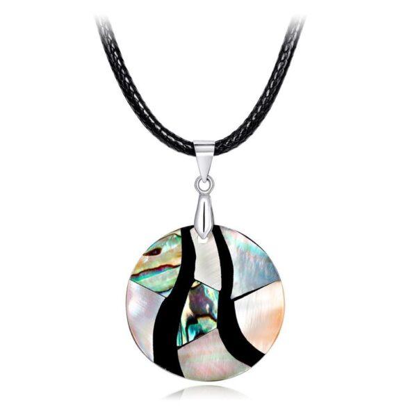 Pendentif abstrait coquille d'ormeau et sa chaîne en simili cuir