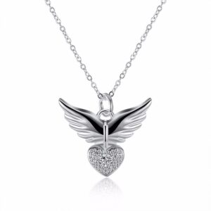 Pendentif en argent ailes d'ange et coeur
